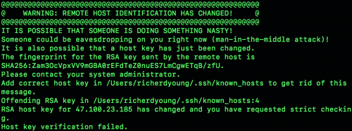 Mac提示 WARNING: REMOTE HOST IDENTIFICATION HAS CHANGED! 解决办法